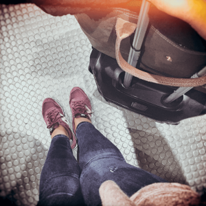 When flying, project manager Sandra Corrius, marbet Spain, opts for comfortable footwear. What you cannot see in the picture: there are more pairs in her suitcase. The shoe-lover wants to be prepared for any situation or weather that might arise.