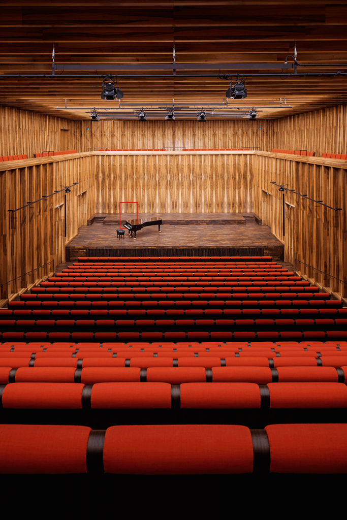 The chamber music hall: French walnut for the wall cladding, fumed German oak for the stage and floor